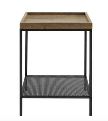 Industrial Square Tray Side Table with Metal Mesh Shelf - Saracina Home - Target