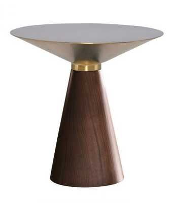 Iris Side Table in Brushed Gold & Walnut in Various Sizes design by Nuevo - Burke Decor