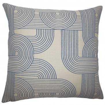 "Utara Geometric Pillow Navy - Lumbar 20x20"" -Poly fill - Linen & Seam"