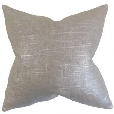 """Berquist Solid Pillow Pewter - 20 x 20"""" - Polyester Insert - Linen & Seam"""