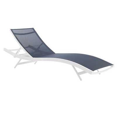 GLIMPSE OUTDOOR PATIO MESH CHAISE LOUNGE CHAIR IN WHITE NAVY - Modway Furniture