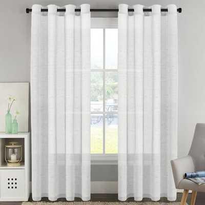 "Surrett Luxury Solid Color Sheer Grommet Curtain Panels - set of 2 - 95"" white - Wayfair"