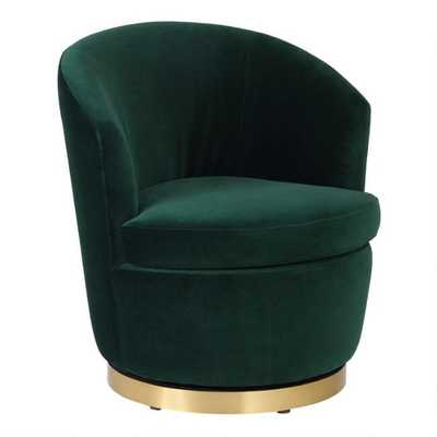 Green Eliza Upholstered Swivel Chair - World Market/Cost Plus