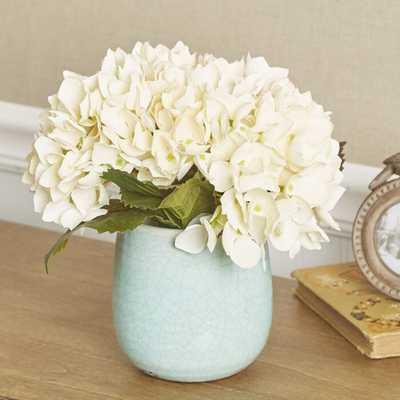 Faux Hydrangea Centerpiece in Blue Vase - Birch Lane
