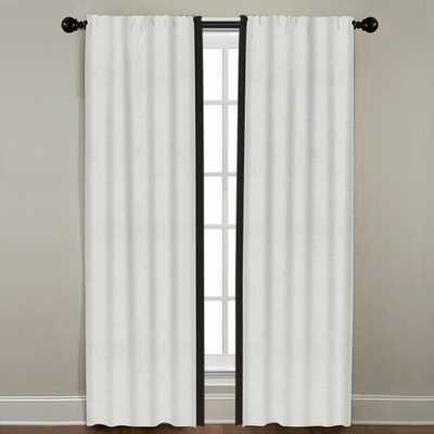 "Linen Border Drapery Single Panel, Snow with Black, 120"" - Havenly Essentials"