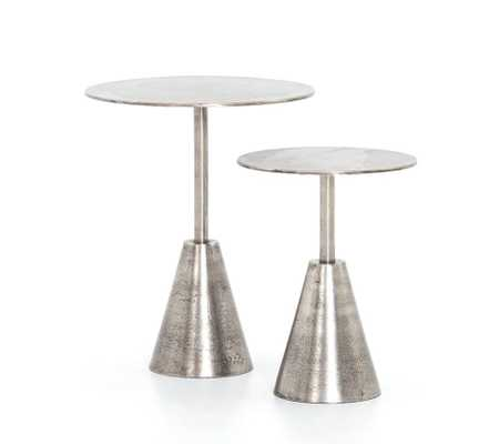 Set of 2 Frisco End Tables in Raw Antique Nickel by BD Studio - Burke Decor