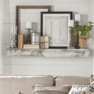Oldbury Naite Floating Shelf in Shabby White Solid Wood Handmade Rustic Style Wall Shelf - Birch Lane