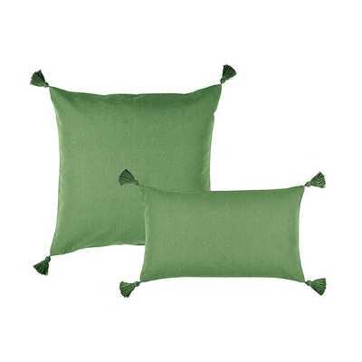 LINEN TASSEL PILLOW-Green - Ballard Designs