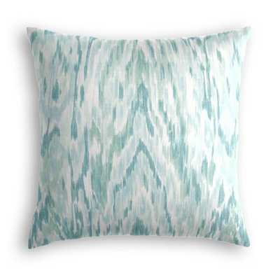 "Aqua blue ikat watercolor throw pillow - 18"" - Down Insert - Loom Decor"
