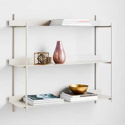 Floating Lines Wall Shelf, 3-Tiered, Paloma Gray - West Elm