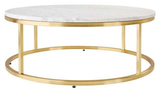 smart round marble brass coffee table - Crate and Barrel