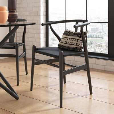 Watchman Solid Wood Wishbone Side Chair in Black (set of 2) - Wayfair