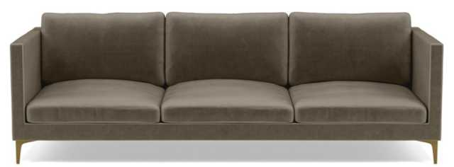 Oliver Sofa with Brown Quartz Fabric and Oiled Walnut legs - Interior Define