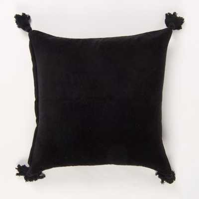 American Colors reversible Solid Black Velvet Pillow with Tassels - Home Depot
