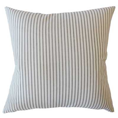 "Ticking Stripe Pillow, Black, 18"" x 18"" with down insert - Havenly Essentials"