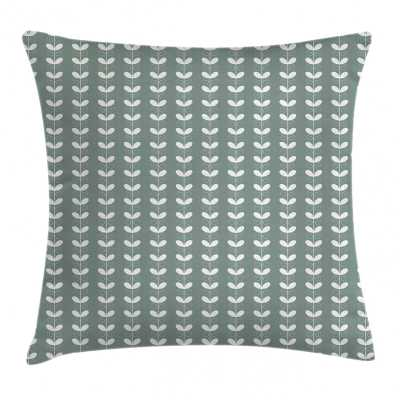 """Ambesonne Nature Throw Pillow Cushion Cover, Retro Textured French Late Baroque Style Tulip Branches Botany Inspired, Decorative Square Accent Pillow Case, 26"""" X 26"""", Pale Sage Green White - Wayfair"""