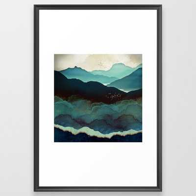 Indigo Mountains Framed Art Print // Scoop Black - Society6
