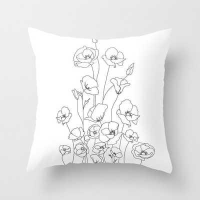 Poppy Flowers Line Art Throw Pillow - Society6