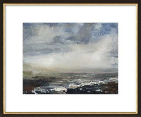 """Pink Horizon - 20"""" x 16"""" - Black with Gold Wood Frame - Matted - Artfully Walls"""