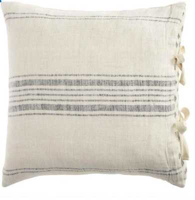 Gray And Blue Rustic Woven Stripe Linen Throw Pillow - World Market/Cost Plus