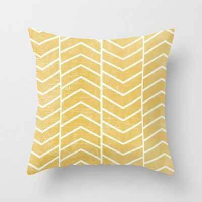 Yellow Chevron Pillow - 16x16 With Insert - Society6