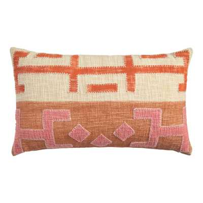 Pink And Orange Kuba Applique Lumbar Pillow - World Market/Cost Plus
