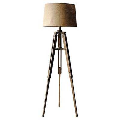 Mariner Tripod Style Wood Floor Lamp with Burlap Drum Shade - Nomad Home