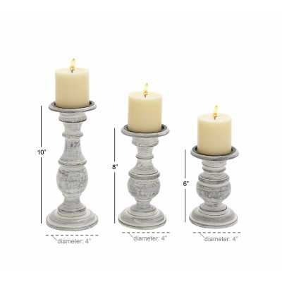 3 Piece Wood Candlestick Set / White - Birch Lane