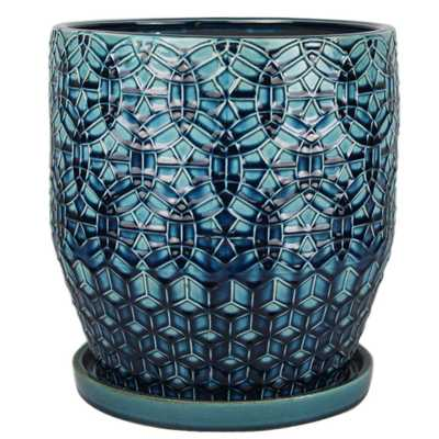 12 in. Dia. Dark Blue Ceramic Rivage Pot - Home Depot