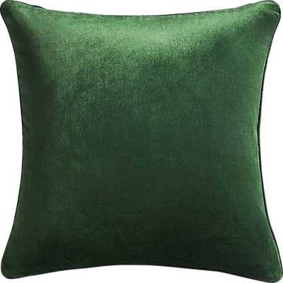 "18"" EMERALD CRUSHED VELVET PILLOW WITH DOWN-ALTERNATIVE INSERT - CB2"