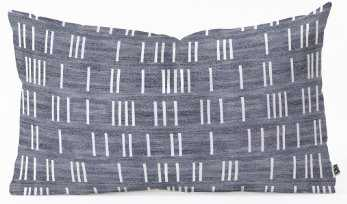 "BOGO DENIM MUDCLOTH LIGHT Oblong Throw Pillow -  23"" x 14"" - with insert - Wander Print Co."