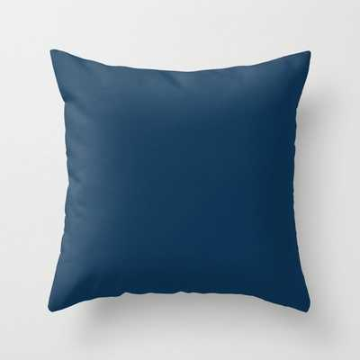 Prussian Blue Solid Color Throw Pillow - Society6