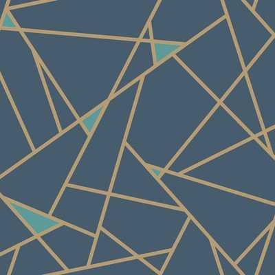 Prismatic Wallpaper in Navy and Gold design by York Wallcoverings - Burke Decor