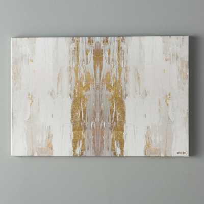 'Sensation White Abstract Art' Wrapped Canvas Print_40'' H x 60'' W - AllModern