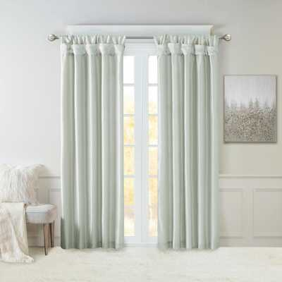 Madison Park Natalie Dusty Aqua 50 in. x 95 in. Twist Tab Lined Window Curtain - Home Depot