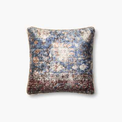 """Loloi PILLOWS P0585 Blue / Multi 18"""" x 18"""" Cover w/Poly - Loma Threads"""