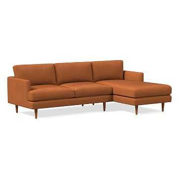 Haven Loft Set 01: Left Arm Sofa, Right Arm Chaise, Trillium, Vegan Leather, Saddle, Pecan - West Elm