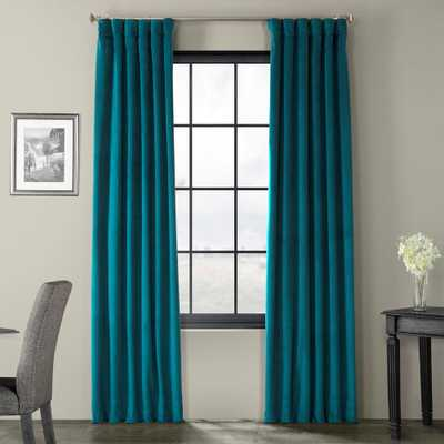 Exclusive Fabrics & Furnishings Blackout Signature Everglade Teal Blue Blackout Velvet Curtain - 50 in. W x 96 in. L (1 Panel) - Home Depot