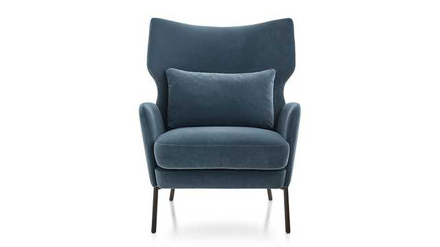 Alex Navy Blue Velvet Accent Chair - Crate and Barrel