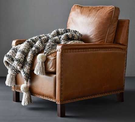 Tyler Leather Square Arm Swivel Armchair with Bronze Nailheads, Down Blend Wrapped Cushions, Vintage Caramel - Pottery Barn