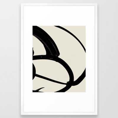 """Mono Brush 1 Framed Art Print - Large (gallery) 26"""" x 38"""" - Vector White - Society6"""