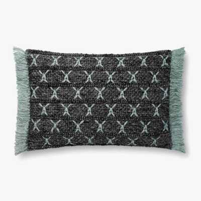 "Loloi PILLOWS P0811 Charcoal / Blue 16"" x 26"" Cover w/Poly - Loma Threads"