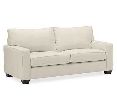 "PB Comfort Square Arm Upholstered Sofa 78"", Box Edge Memory Foam Cushions, Performance Everydaylinen(TM) by Crypton(R) Home Oatmeal - Pottery Barn"