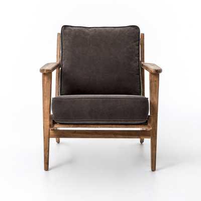Brooks Lounge Chair in Stonewash Dark Green - Burke Decor