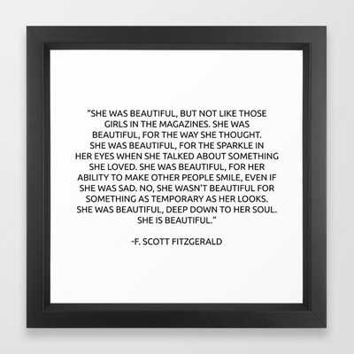 "She was beautiful Fitzgerald Quotes Framed Art Print - 12"" x 12"" - Society6"