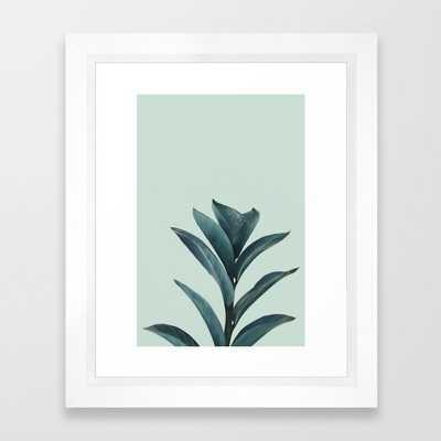 Teal Mint Plant Framed Art Print - Society6