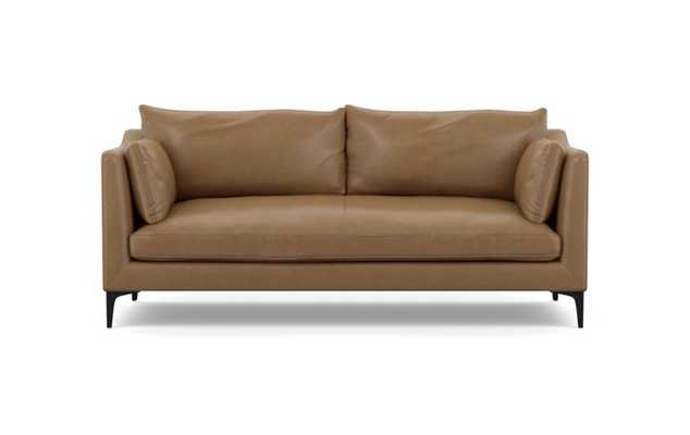 Caitlin Leather by The Everygirl Sofa with Palomino Leather and Matte Black Sloan L Legs - Interior Define