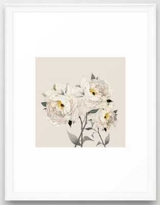 White Peonies Framed Art Print - Society6