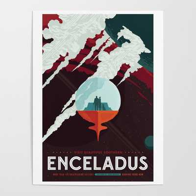 NASA Retro Space Travel Poster #3 - Enceladus Poster - Society6