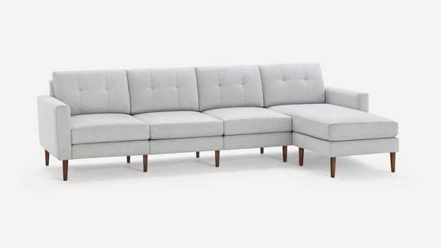 Block Nomad King Sectional - crushed gravel - walnut - block armstyle - Burrow